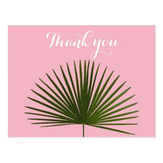 Thank you Tropical Palm Frond Leaf Wedding Postcard