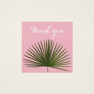 Thank you Tropical Palm Frond Leaf Wedding Square Business Card