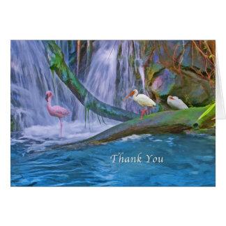 Thank You, Tropical Waterfall, Wild Birds Greeting Card