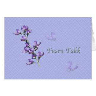 Thank You, Tusen Takk, Norwegian, Purple Sweet Pea Greeting Card