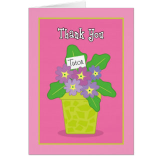 Thank You Tutor Purple Violets Greeting Card