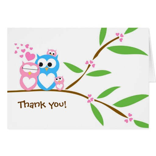 Thank you Twin Baby Girl Owl Baby Shower Note Card