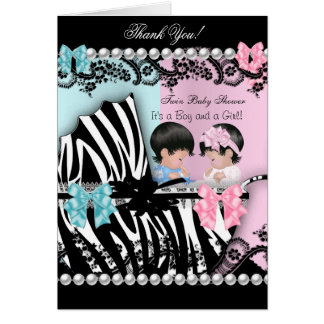 Thank You Twin Baby Shower Cute Girl Pink Boy Blue Card