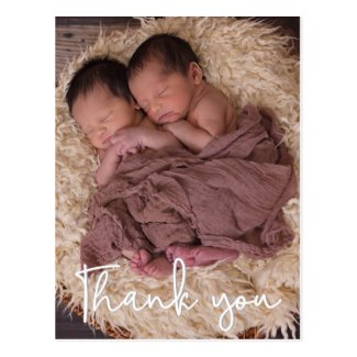 Thank You Twin Birth Announcement Vertical Postcard