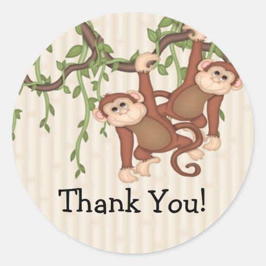 Thank You! Twin Monkeys Baby Shower Classic Round Sticker