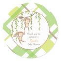 Thank you | Twin Monkeys Baby Shower Sticker sticker