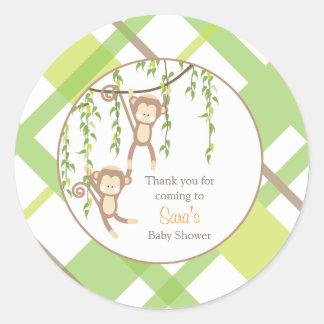 Thank you |  Twin Monkeys Baby Shower Sticker
