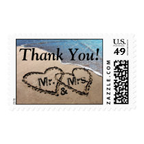 Thank You! Two Hearts In Sand Beach Postage Stamps