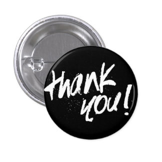 Thank you typography badge pinback button