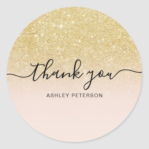Thank you typography blush chic gold glitter ombre classic round sticker