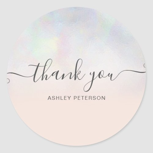 Thank you typography blush pearl nacre ombre classic round sticker