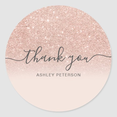 Thank you typography blush rose gold glitter ombre classic round sticker