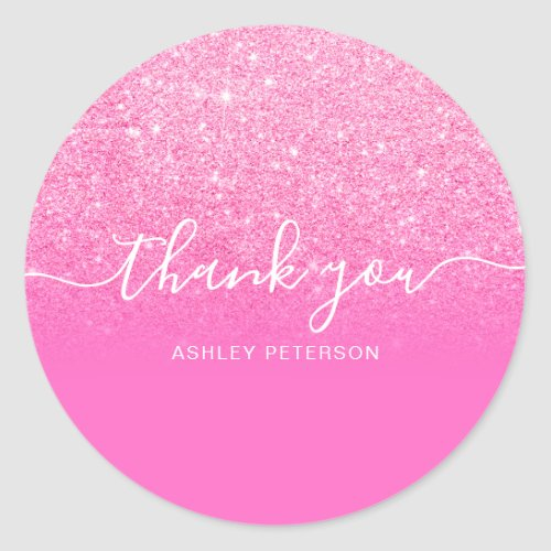 Thank you typography chic pink glitter ombre classic round sticker