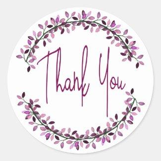 Thank You Typography Chic Purple Leaf Wreath Classic Round Sticker
