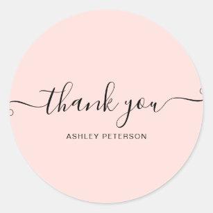2 Pink Pastel Watercolor Thank You stickers envelope label  branding seal packaging sticker square thank you customer thank you sticker