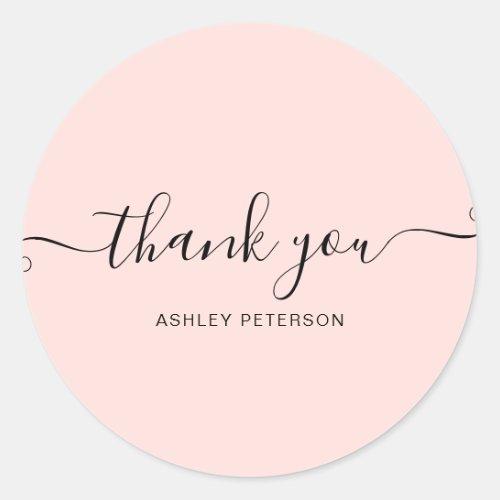 Thank you typography minimalist pastel pink classic round sticker