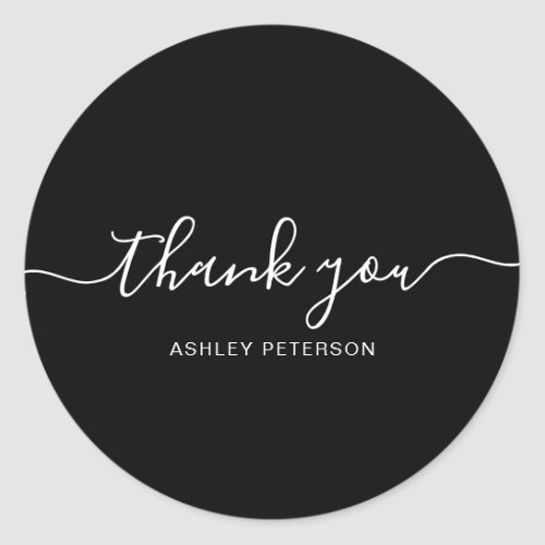 Thank you typography minimalist white black classic round sticker