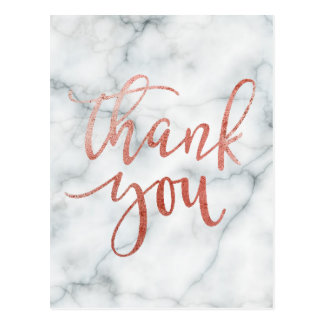 thank you typography on marble postcard