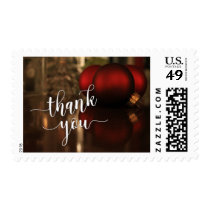 Thank You Typography & Red Ornaments Photo Postage