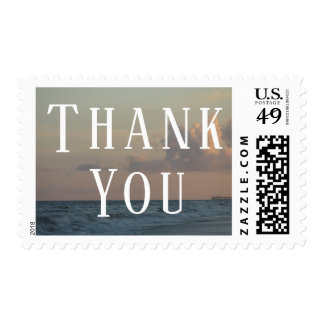Thank You Typography w/ Beach Dusk Photo Postage