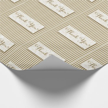 Professional Business Thank You Typography with Soft Taupe Cream Stripes Wrapping Paper