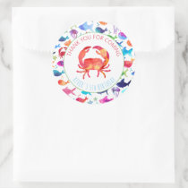 Thank You Under The Sea Rainbow Watercolor Fish Classic Round Sticker