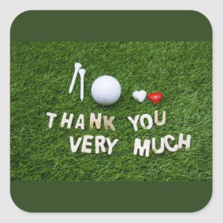 Thank you very much with golf ball sticker