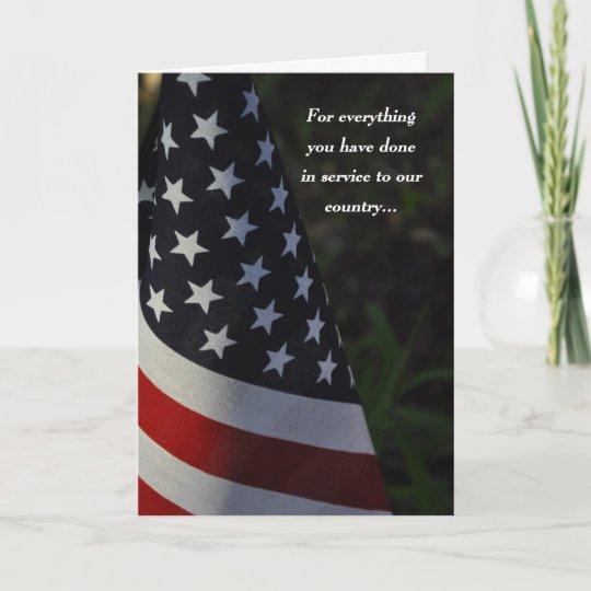 thank you veteran on veteran's day flag card  zazzle