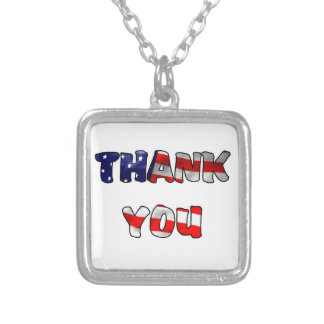 Thank You Veteran Square Pendant Necklace
