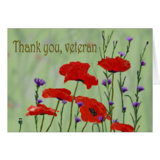 Thank you Veteran with Poppies Greeting Card