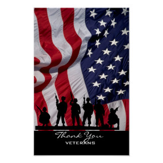 Thank You Veterans - American Flag and Soldiers Poster