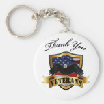 Thank You Veterans Basic Round Button Keychain