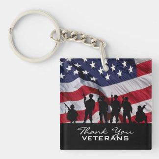 Thank You Veterans Square Acrylic Key Chain