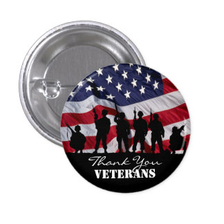 Thank You Veterans Pinback Button