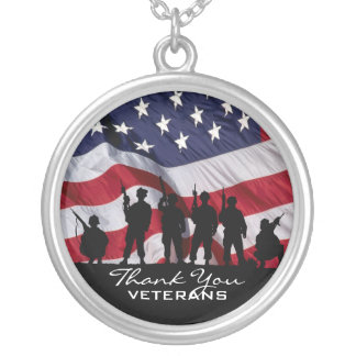 Thank You Veterans Round Pendant Necklace