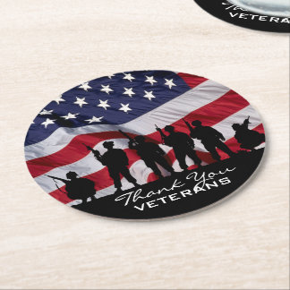 Thank you Veterans - Soldiers silhouette and Flag Round Paper Coaster