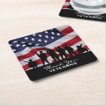 """Thank you Veterans - Soldiers silhouette and Flag Square Paper Coaster<br><div class=""""desc"""">Support our Troops.  Thank You Veterans coasters featuring the American Flag and Soldiers silhouette.</div>"""