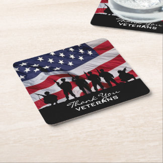 Thank you Veterans - Soldiers silhouette and Flag Square Paper Coaster
