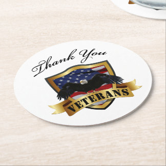 Thank you Veterans - Soldiers silhouette Round Paper Coaster