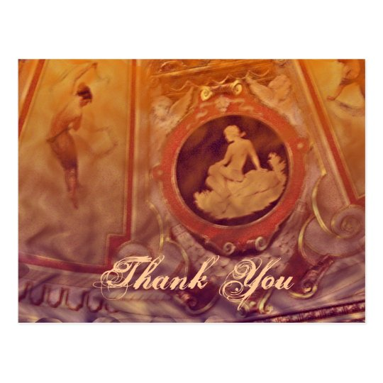 Thank You Vintage cameo orange Postcard