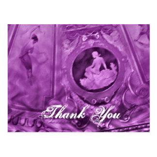 Thank You Vintage cameo purple Postcards