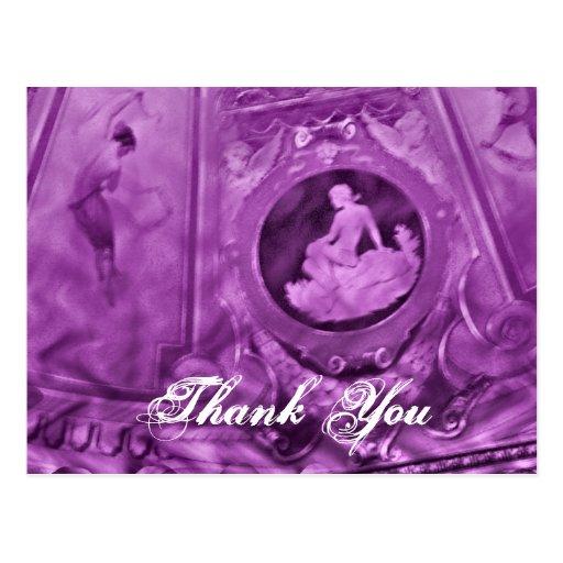 Thank You Vintage cameo purple Postcard