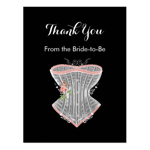 Thank You Vintage Corset Personal Bridal Shower Postcards