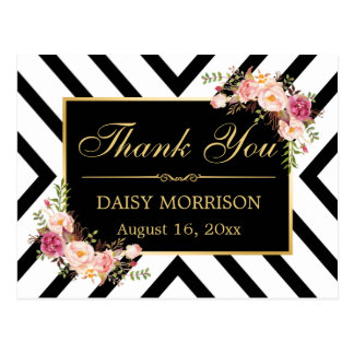 Thank You Vintage Floral Gold Black White Stripes Postcard