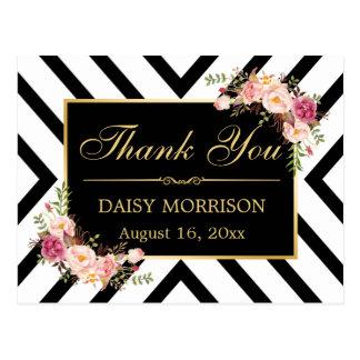 Thank You Vintage Floral Gold Black White Stripes Postcard