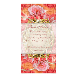 """""""thank you"""" vintage flower rose pearls photo card"""