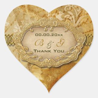"""""""Thank you"""" vintage gold brown wedding Sticker"""