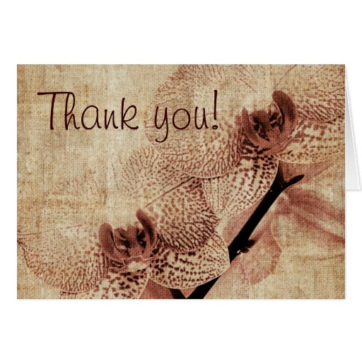 thank you vintage orchid design note card
