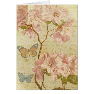 Thank You Vintage Pink Rhododendron Elegant Floral Card
