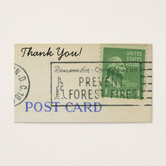 Thank You Vintage Postage Paper Stamp Business Card